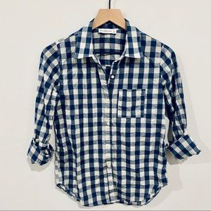 Abercrombie & Fitch Plaid Check Blue Button Up Top